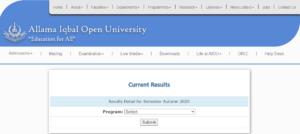 Allama Iqbal Open University Results 2