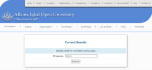 Allama Iqbal Open University Results 3
