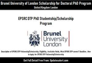EPSRC DTP Scholarship/PhD Studentship Program 2021